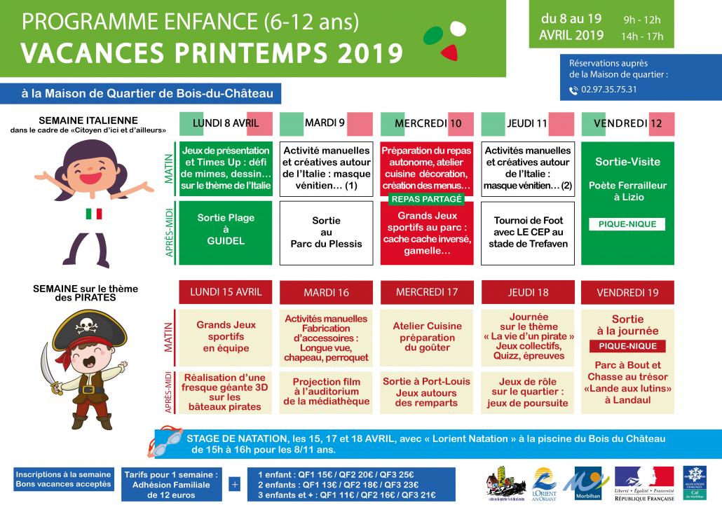 Programme_Enfance VACANCES printemps 2019-Bois_du_Chateau