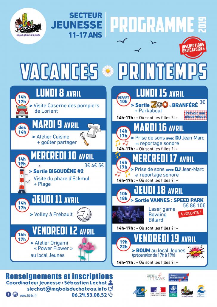 ProgrammeJeunesse VACANCES Printemps 2019-Bois_du_Chateau