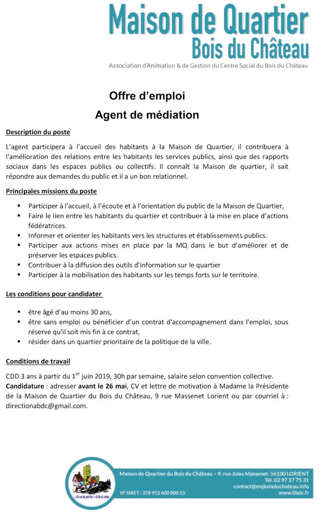 offre-d'emploi-agent-de-mediation-2019